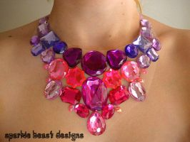 Pink and Purple Gem Bib Necklace by Natalie526