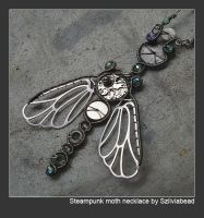 Steampunk moth necklace by bodaszilvia