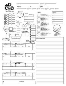 D and D 5th Edition Character Sheet by 3Fangs