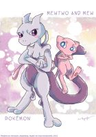 Mewtwo and Mew by MissNeens