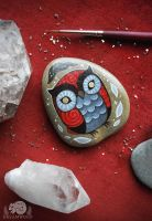 Red Smoke Hand-painted Owl Stone by JillHoffman