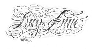 chicano lettering Lucy anne by 2Face-Tattoo