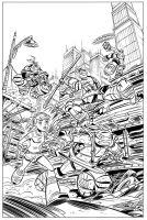 TMNT book # 1 cover - inks (SOLD) by DarioBrizuelaArtwork