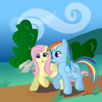 Fluttershy and Rainbow going for a walk by Dashermkii
