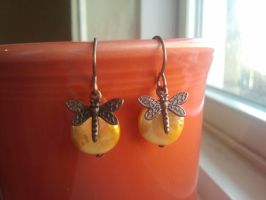 Whimsical Dragonflies on a Pearl by CharmingLittleFox