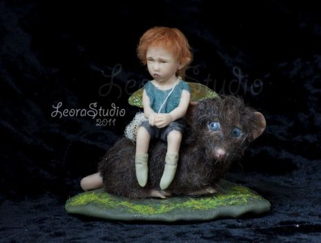 Fairy boy and mouse, ooak2 by ALBuslovich