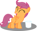 Scootaloo loves milk by xXV0X5CR3AMXx