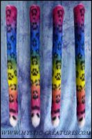 Rainbow colored snow leopard tail - with pawprint by Mystic-Creatures