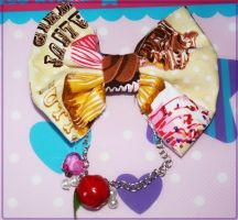 Lolita Cutie Cupcake Hair Bow by xsuicidemakeover