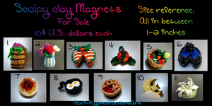 Sculpey Clay Magnets for sale by Mari-Kyomo
