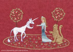 lady and unicorn by merwing