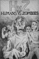 Humans Vs Zombies print by The-BenT-One