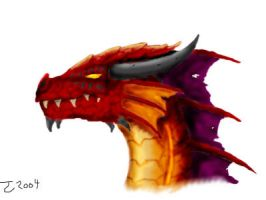 Red Dragon Head by Pseudolonewolf