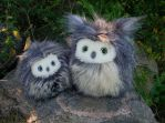 Fuzzy owls now available on Etsy! by demiveemon