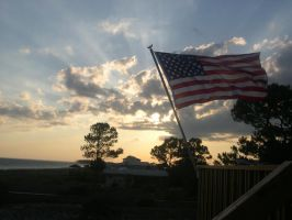 Sunset and Flag by OleMid2007