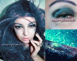 Glitter Glam Black Acqua Makeup Look by cherrybomb-81