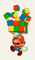 Comish - Mario and Rubiks by ghostcharmer