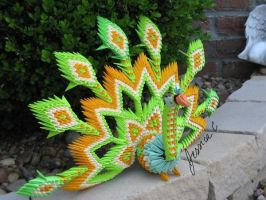 3 D Origami Green peacock 3 by jchau