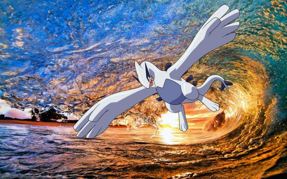 Lugia flying through the surf! by ryanthescooterguy
