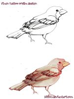 Finch Tattoo Prelim Design by kitton