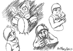Band!Chica sketches by ApeJazzPistol