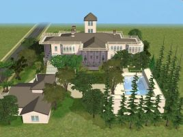 Sims 2 Large white mansion by RamboRocky