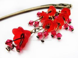 FOR SALE Hairstick with red lucite flowers by Benia1991
