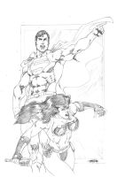 Superman and Barda by JeanSinclairArts