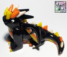 Halloween Miniature Candy Corn Dragon Sculpture by prismaticpearls