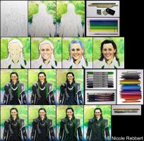 Loki (mixed media) step by step by Quelchii