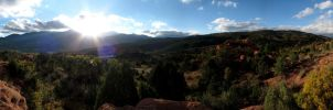 Sunset Over Pikes Peak Panorama by kurtjmac