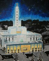 Stars over the Madrid, Spain LDS Temple by Ridesfire