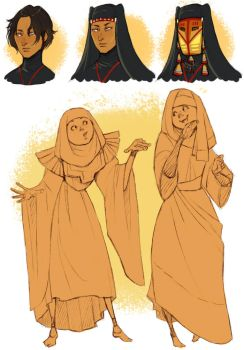 Alma, Irene and Iman doodles by Chopstuff