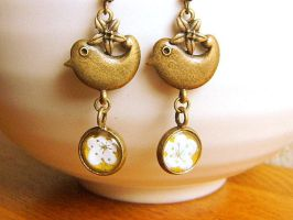 Plum Blossoms and Birds Earrings by souzoucreations