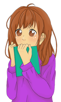 Embaressed girl Holding A Book Colored by Dezeya