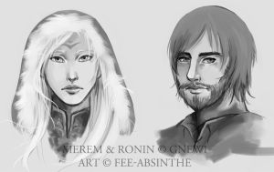 Portrait Commission: Merem and Ronin by fee-absinthe