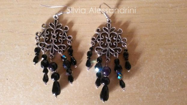 Black drops earrings by SilvieTepes