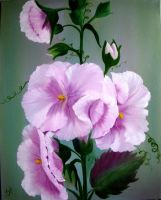 Hollyhocks by W. Redman by wanred