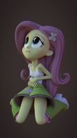 [Blender] Fluttershy on the floor looking up by FD-Daylight