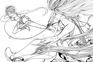 Battle in the sky - Inking by Sorina-chan