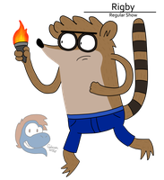 Rigby carrying a torch by NokuCroc