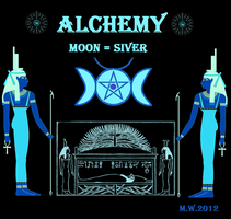 Egypt Alchemy goddess Isis Moon Silver pentagram by Mikewildt
