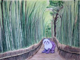 Panda in a bamboo forest by Qtfiddler