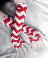 Deep Carmine Red and Ivory Chevron Arm Warmers by ZenAndCoffee