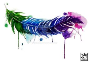 Watercolor Feather Tattoo by EverIris
