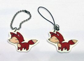 Foxie cel and keychain charms by ImaginaryFox