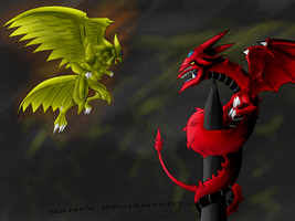Rage of the gods Slifer and Ra by Nami-v