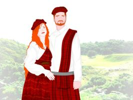 Traditional Scottish Couple by ArsalanKhanArtist