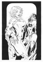 Powergirl and Raven by DLimaArt