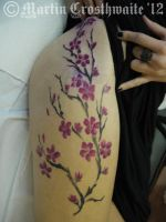 Painted Cherry Blossom Tattoo by mxw8
